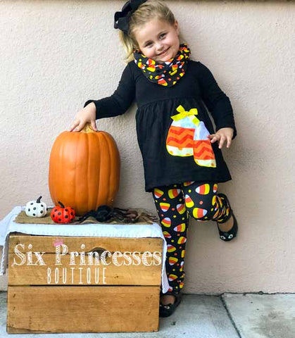 Halloween Candy Corn 3pc Set Applique Tunic, Leggings & Infinity Scarf