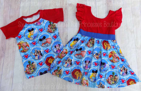 Disney Cruise Twirl Dress & Raglan - Brother/Sister Matching