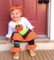 Pumpkin Applique Tiered Tunic & Ruffle Pants Set