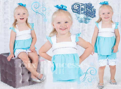 Princess Shorts Set Elsa Frozen Inspired Disney Princess