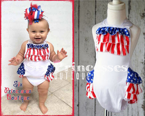 Baby American Flag Bubble Romper 4th of July Patriotic