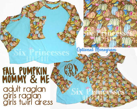Mommy & Me Fall Pumpkin Raglans & Twirl Dresses