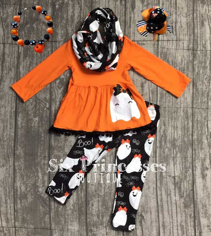 Halloween Pom Pom Ghost Tunic/Leggings/Scarf 3pc Set Outfit