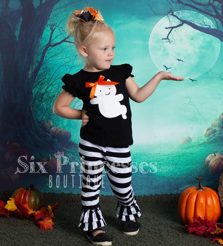 Halloween Ghost Shirt & Ruffle Pants Set