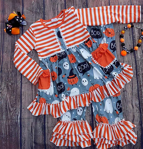 Halloween Ghost Ruffle Pants/Tunic SET Boo Pockets