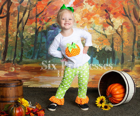 Pumpkin Applique Tunic & Ruffle Pants Set Halloween Outfit