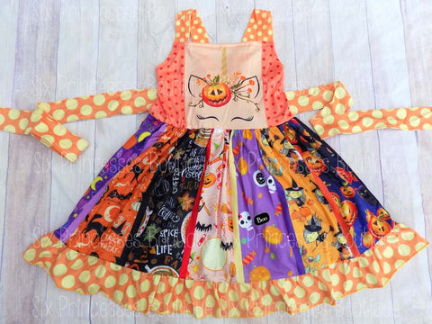 Unicorn Halloween Pumpkin Panel Twirl Dress