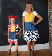 Family Disney Sets - Toy Story Jessie Woody Dress Shorts Sets Matching Mommy & Me Adult & Kids