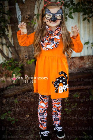 Kitty Cat Halloween 3pc Set - Tunic, Leggings & Scarf
