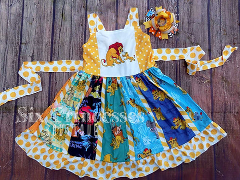 Lion King Panel Twirl Dress Tie Back Disney Birthday Personalized