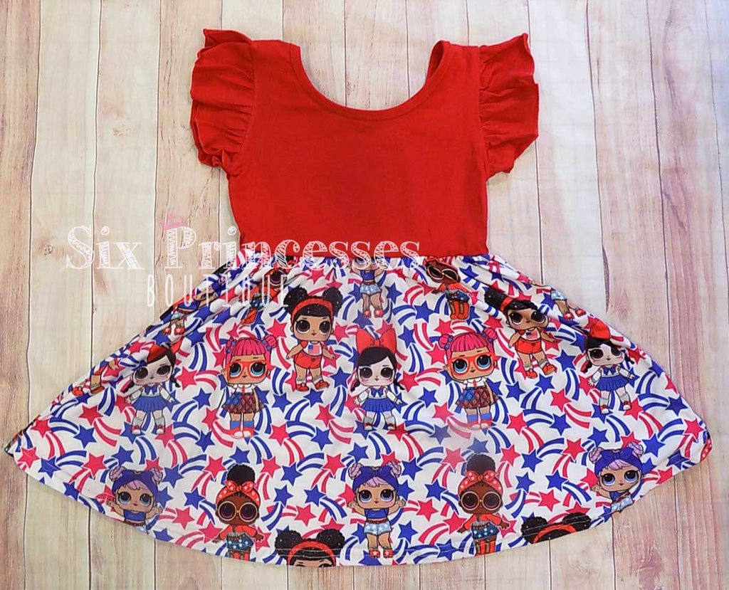 LOL Surprise Dolls Red White & Blue Twirl Dress