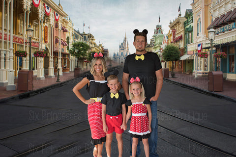 Family Disney Sets - Mickey Minnie Inspired Dress Shorts Sets Matching Mommy & Me Adult & Kids