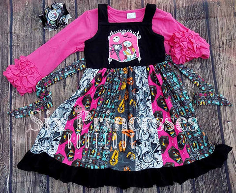 Halloween Nightmare Before Christmas Sally Jack Ruffle Panel Twirl Dress and Pink Icing Top Set