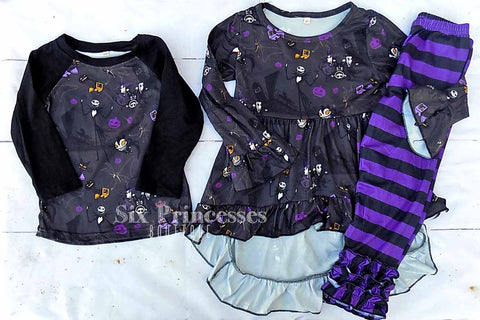 Nightmare Before Christmas Sibling Sets Hi-Low Top & Leggings SET Raglan Brother Sister Extended Sizes Halloween