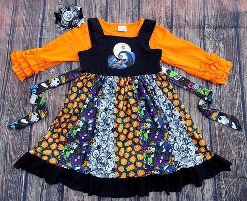 Halloween Nightmare Before Christmas Sally Jack Ruffle Panel Twirl Dress and Orange Icing Top Set