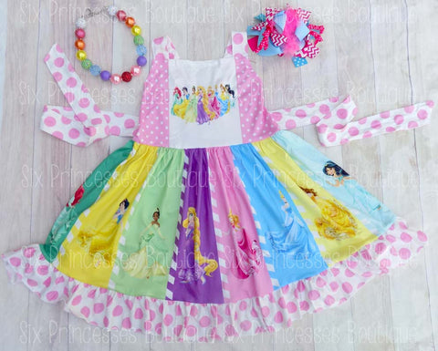 Disney Princess Panel Twirl Dress Ariel Cinderella Jasmine & More