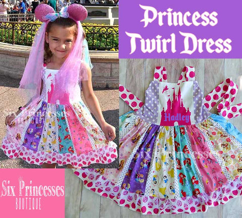 Princess Panel Twirl Dress Disney Ariel Cinderella Elsa & More!