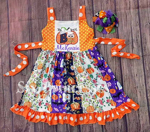 Pumpkin Unicorn Halloween Panel Twirl Dress Extended Sizes