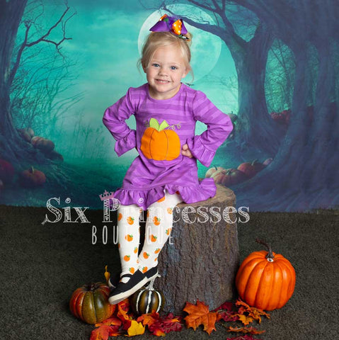 Purple Pumpkin Ruffle Dress Halloween Applique