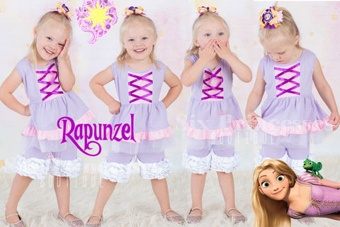 Princess Shorts Set RAPUNZEL Tangled Inspired Disney Princess