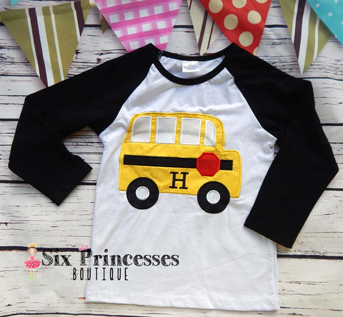 Back To School Shirt Bus Applique Boys Personalizable