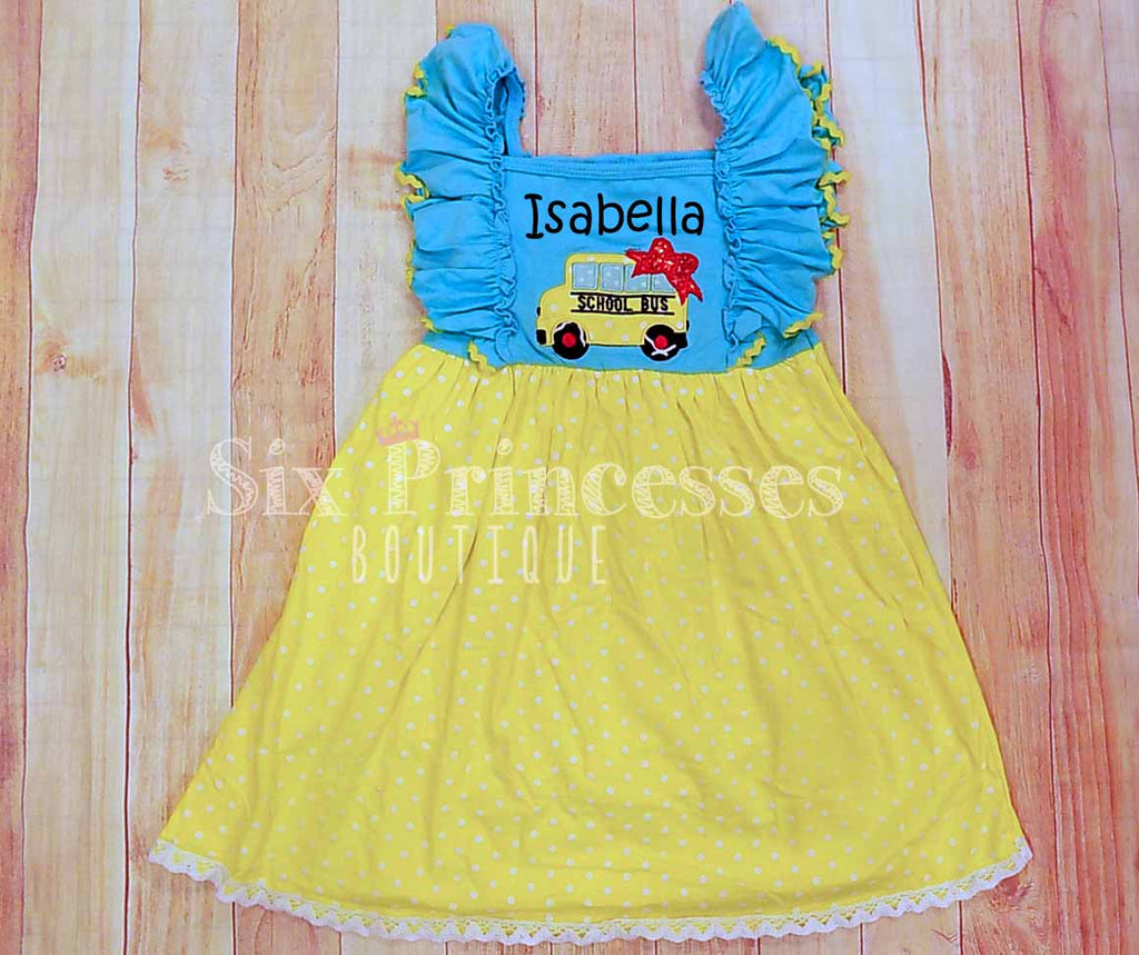 School Bus Dress Fall Back To School Ruffle Personalized