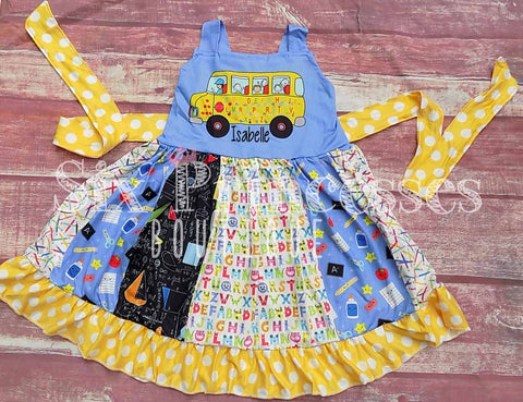 School Bus Back to School Panel Twirl Dress