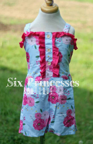Blue English Rose Serendipity Romper Remake 4, 5/6 & 6/7 Only BSK16