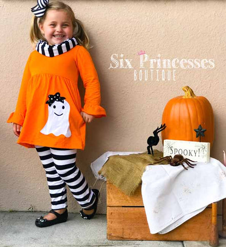 Halloween Orange Ghost 3pc Set - Tunic, Leggings & Scarf Black & White Striped Pants