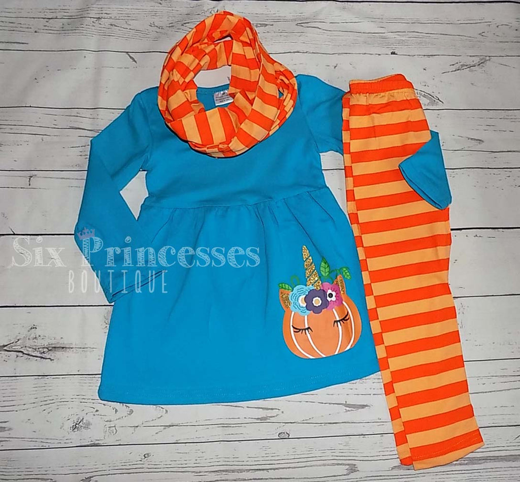 Halloween Teal Unicorn Pumpkin 3pc Scarf Set Applique Top/Leggings/Scarf