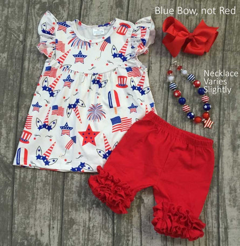 4th of July Unicorn Set - Ruffle Shorts & Pearl Top