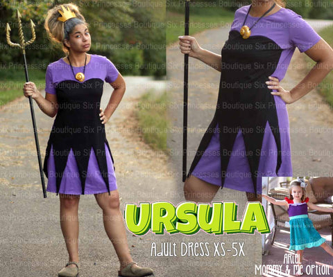 Princess Mommy Dress - Adult Size Ursula Little Mermaid Inspired Disney Costume