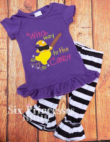 Witch Way to the Candy Ruffle Pants & Top SET Outfit Black & White