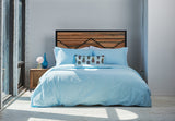 pillowcases | ice blue | metal bed | bedface