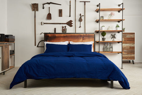 epillowcases | nighttime navy | metal bed | bedface