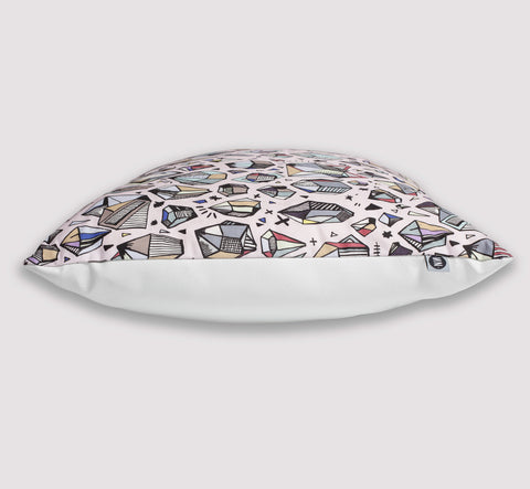 ethrow pillow | crystal | side view | bedface