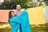 fitted sheet | aqua | outdoor couple | bedface