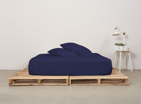 efitted sheet | nighttime navy | pallet bed | bedface