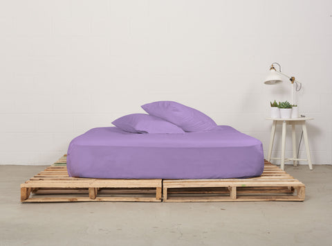 efitted sheet | dreamy violet | pallet bed | bedface