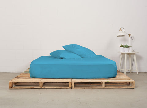 efitted sheet | sky blue | pallet bed | bedface