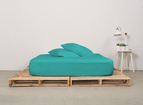 efitted sheet | aqua | pallet bed | bedface