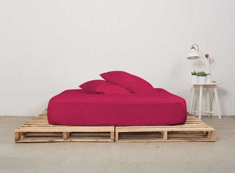 efitted sheet | siesta pink | pallet bed | bedface