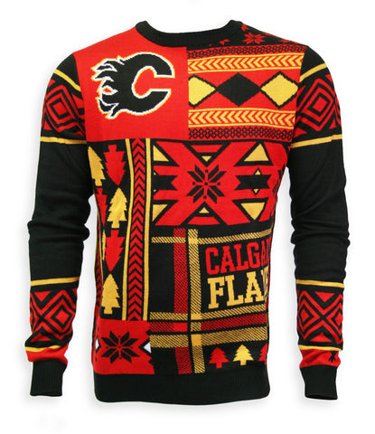Calgary Flames Mens Patchwork Crew Sweater