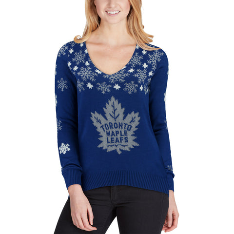 Toronto Maple Leafs NHL Snowflake V-Neck Sweater