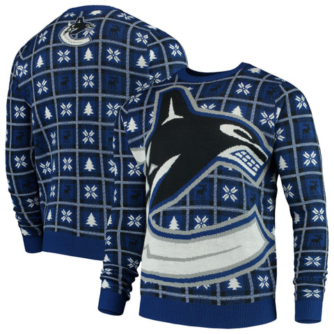 Vancouver Canucks NHL Big Logo Checker Ugly Christmas Sweater