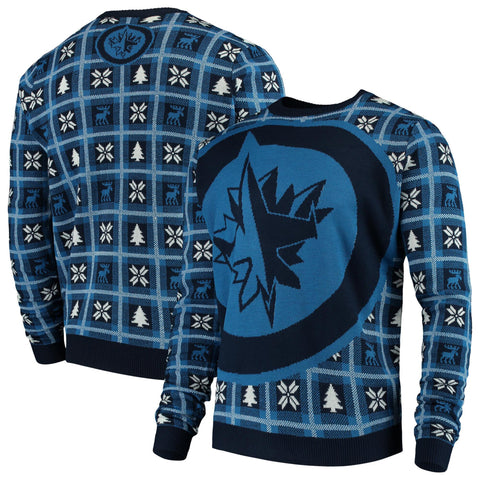 Winnipeg Jets NHL Big Logo Checker Ugly Christmas Sweater