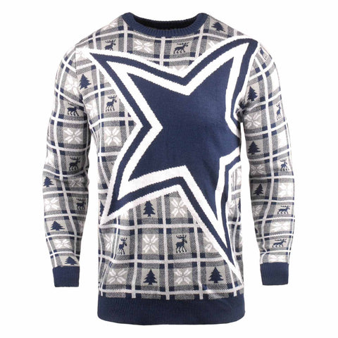 Dallas Cowboys NFL Big Logo Checker Ugly Christmas Sweater