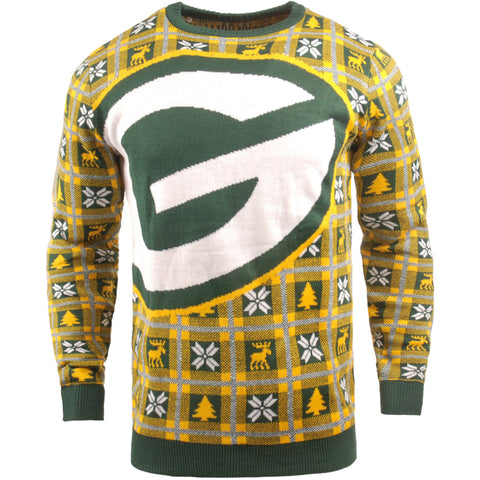 Green Bay Packers NFL Big Logo Checker Ugly Christmas Sweater