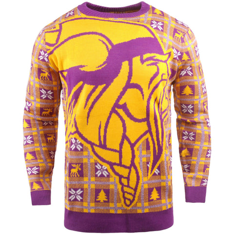 Minnesota Vikings NFL Big Logo Checker Ugly Christmas Sweater