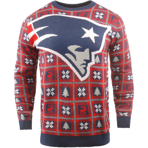 New England Patriots NFL Big Logo Checker Ugly Christmas Sweater